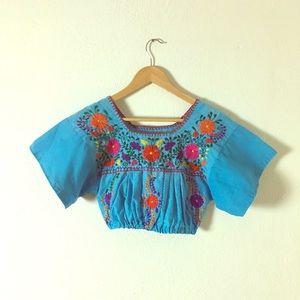 Tops - Vintage Repurposed Mexican Ethnic Crop Top
